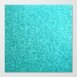 Bright Aqua Blue Glitter Tiffany Canvas Print