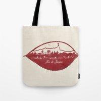 rio de janeiro Tote Bags featuring Rio de Janeiro Skyline by Paula Belle Flores