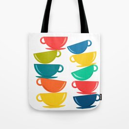 A Teetering Tower Of Colorful Tea Cups Tote Bag