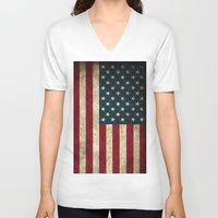 american flag V-neck T-shirts featuring American Flag  by  Can Encin