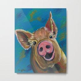 Colorful Pig Art, Pig painting of 'Wilbur' Metal Print