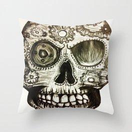 Skull of Gears Throw Pillow