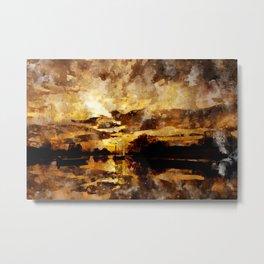 Golden sunset watercolor Metal Print