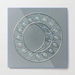 Silvery Moonstone Moon Metal Print