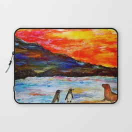 Beautiful Penguins With Sea Lion By The Blue Ocean Painting Laptop Sleeve