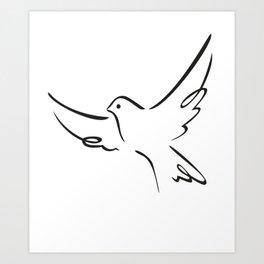 Flying pigeon Art Print