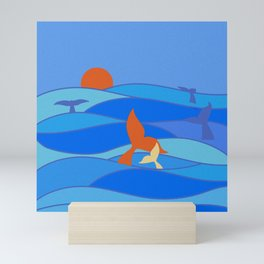 Whales Baby Whale and Mother Mini Art Print