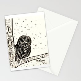 Baby Owl Basking in the Night Stationery Cards