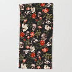 Floral and Skull Pattern Beach Towel