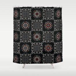Bohemian Black Red Folk Art Patchwork Shower Curtain