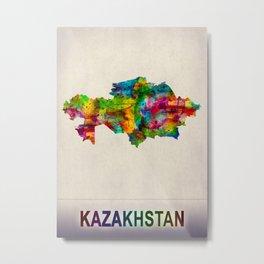 Kazakhstan Map in Watercolor Metal Print