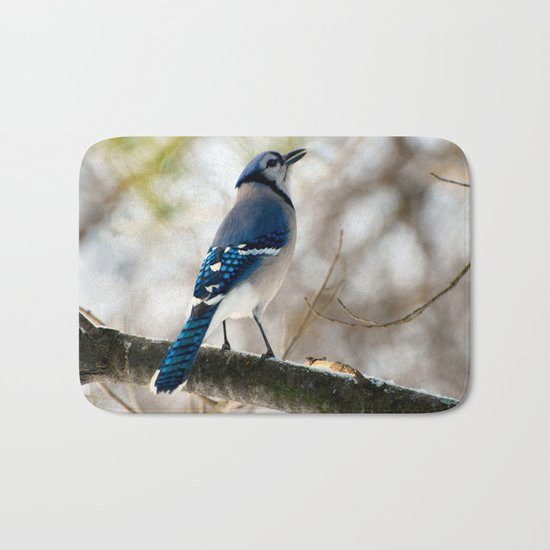 Blue Jay Calling Bath Mat