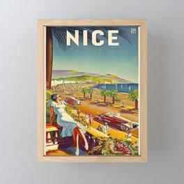 Vintage Travel Poster france nice Framed Mini Art Print