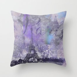 Purple Paris Watercolor Art Throw Pillow