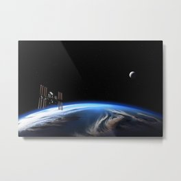 Earth, Moon, and the International Space Station Metal Print