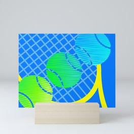 Scribblez on blue Mini Art Print