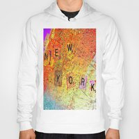 new york map Hoodies featuring New York Map by Joe Ganech