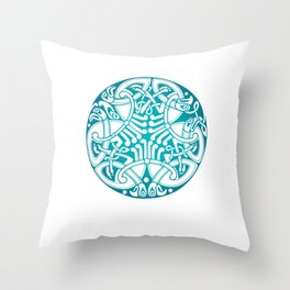 St. Patrick's Day Celtic Blue Mandala #6 Throw Pillow