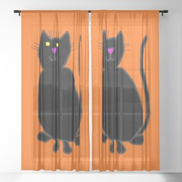 Black Cat on Pumpkin Orange Sheer Curtain