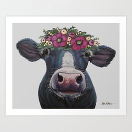 Cow art, Colorful Cow with Flower crown art Art Print