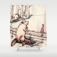beaver Shower Curtains featuring The Girl & The Beaver (or, Is It Alright if I Take Notes?) by Kathryn Robertson