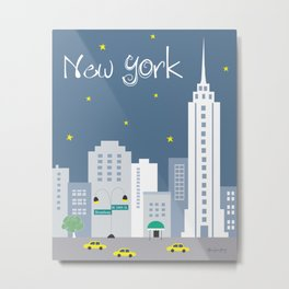 New York City, New York - Skyline Illustration by Loose Petals Metal Print