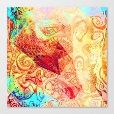 Red Heart Swirl Canvas Print