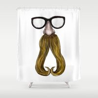 glasses Shower Curtains featuring Glasses by Yousef Balat @ Hoop Snake Graphics LLC