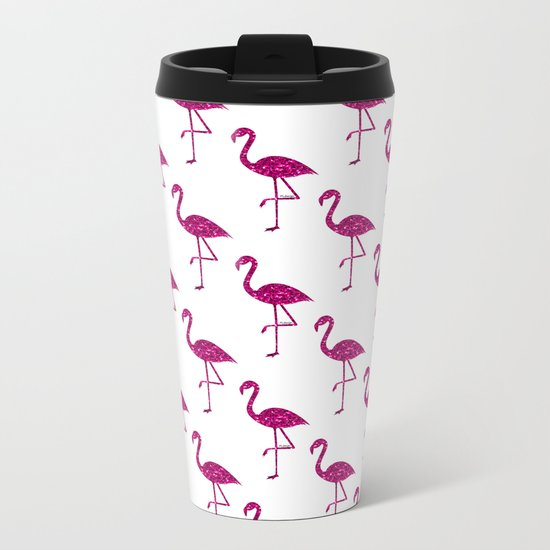 Sparkly flamingo Pink glitter sparkles pattern Metal Travel Mug
