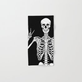 Human skeleton posing isolated over black background vector illustration Hand & Bath Towel