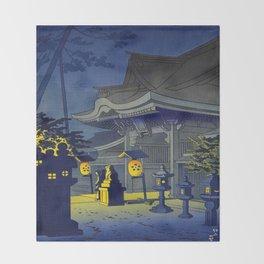 Japanese Woodblock Print Vintage Asian Art Colorful Woodblock Prints Shrine At Night Lantern Throw Blanket