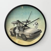 delorean Wall Clocks featuring Lost, searching for the DeathStarr _ 2 Stormtrooopers in a DeLorean  by Vin Zzep