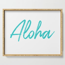 Aloha in Tropical Blue Serving Tray