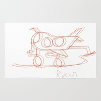 airplane Area & Throw Rugs featuring Airplane Mirage by Ryan van Gogh