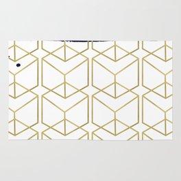 Blue & Gold Hexagon Rug