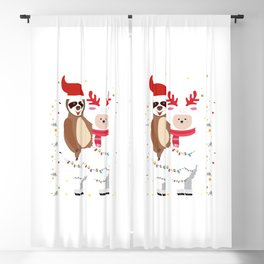 Ugly Sweater Merry Sloth Llama Christmas Blackout Curtain