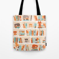 library Tote Bags featuring Library cats by Heleen van Buul