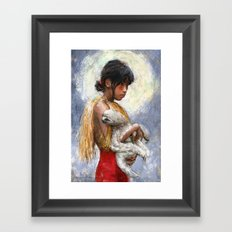 Amazonian girl and her sloth Framed Art Print