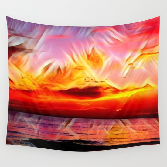 Sky on Fire (Sunset over Great Lake Michigan Beach) Wall Tapestry
