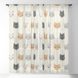 Cute Kitten & Stripes Pattern Sheer Curtain
