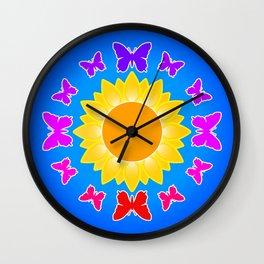 Butterflies on Sunflower Wall Clock