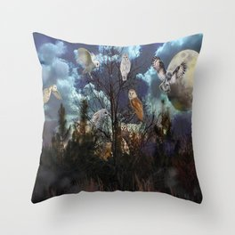 Owl tree Throw Pillow