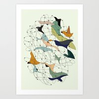 Chained birds Art Print