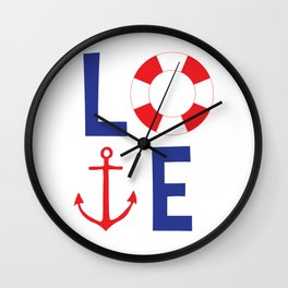 LOVE nautical red, white and blue - Anchor - Life Savor Wall Clock