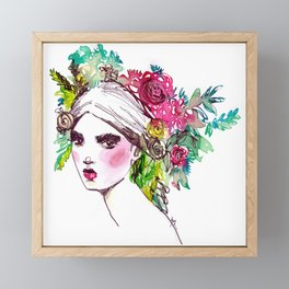 #Floral fashion portrait Framed Mini Art Print