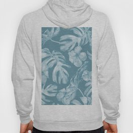 Tropical Escape Teal Blue Leaves + Hibiscus Hoody