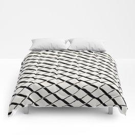 Modern Diamond Lattice 2 Black on Light Gray Comforters