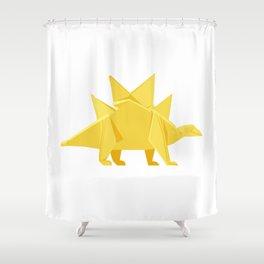 Origami Stegosaurus Flavum Shower Curtain