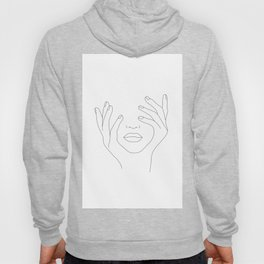 Minimal Line Art Woman with Hands on Face Hoody