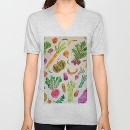 watercolor veggie market Unisex V-Neck